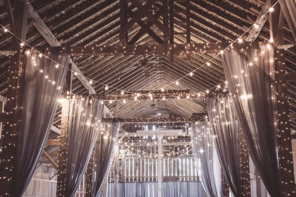 fairy lights in winter wedding